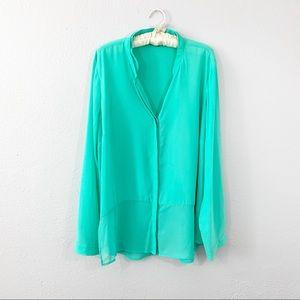 ELOQUII Plus Green Chiffon Long Sleeve Drape Tunic